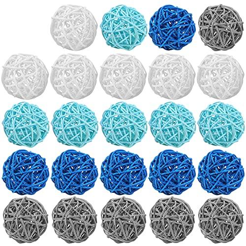 24 Piezas Bolas de Ratán de Mimbre 2 Pulgadas Orbes de Decoración de Mimbre Rellenos de Jarrones para Manualidades Bochas Centros de Mesa Fiesta Boda Mesa de Café (Color Delicado)