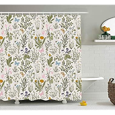 Ambesonne Floral Shower Curtain, Vintage Garden Plants with Herbs Flowers Botanical Classic Design, Fabric Bathroom Decor Set with Hooks, 75 Inches Long, Beige Reseda Green Pink Blue