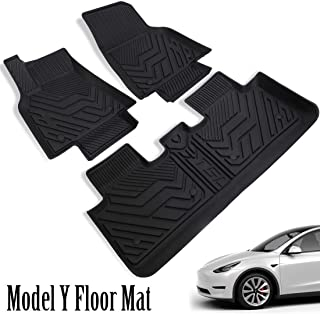 EVBOYS All-Weather Floor Mats for 2020-2020 Tesla Model Y Custom Fit Car Floor Liners 1st & 2nd Row