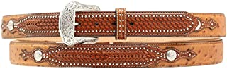 Nocona Men's Ostrich Print Basketweave Billets Leather Belt Tan 42