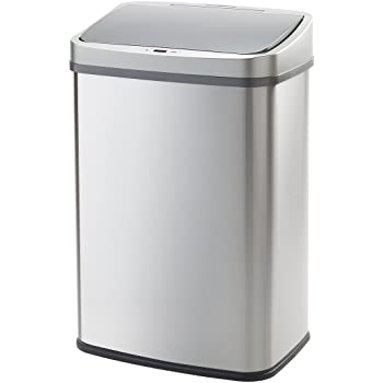 WY 全自動センサー式 ゴミ箱 大容量 45リットル 近づくだけでフタが自動開閉 静音タイプ センサー感知範囲調整機能付き ふた付き ステンレス キッチン ごみ箱 分別シール付属 キッチンカウンター下設置可 WY-HM013