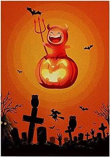 ASKLKD Happy Halloween Garden Drapeau, Yard Bienvenue Signe Vertical Double Face à Double Face Saisonnier Cour d'extérieur...