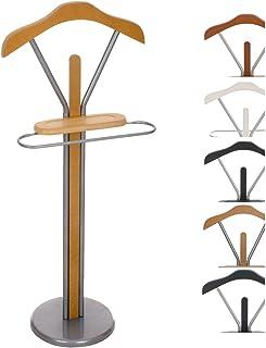 CLP Perchero De Pie Moderno Ronald | Perchero Metálico con Perchas para Pantalones & Vestidos | Perchero Unisex | Galán De Noche I Color: Madera Natural