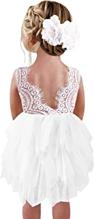 2Bunnies Girl Peony Lace Back Backless A-Line Tiered Tutu Tulle Flower Girl Dress
