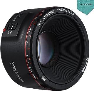 YONGNUO YN50mm F1.8 II カメラレンズ 標準プライムレンズ 大口径 オートフォーカス 0.35至近焦点距離 Andoerクリニングクロス付き キヤノンEOS 70D 5D2 5D3 600D DSLRカメラ用