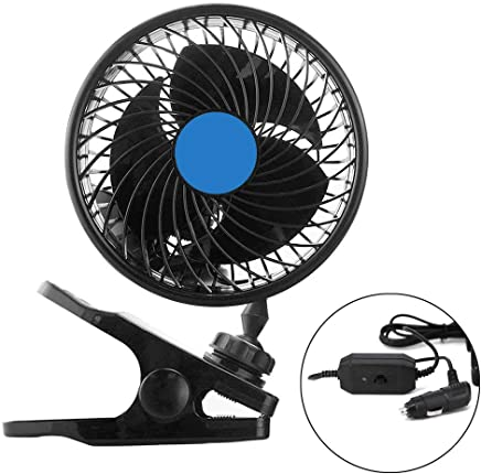 Car Fan, 12V Electric Car Cooling Fan, 2 Speed Adjustable 360 Degree Rotatable with