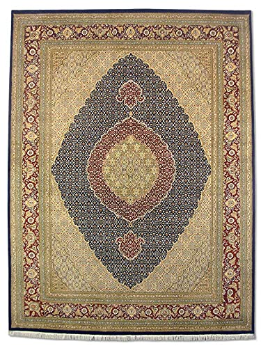 Tappeto tradizionale persiano fatto a mano Tabriz, lana/arte, seta (riflessi), blu scuro scuro, grande, 246 x 327 cm, 2,5 x 22,9 cm (ft)