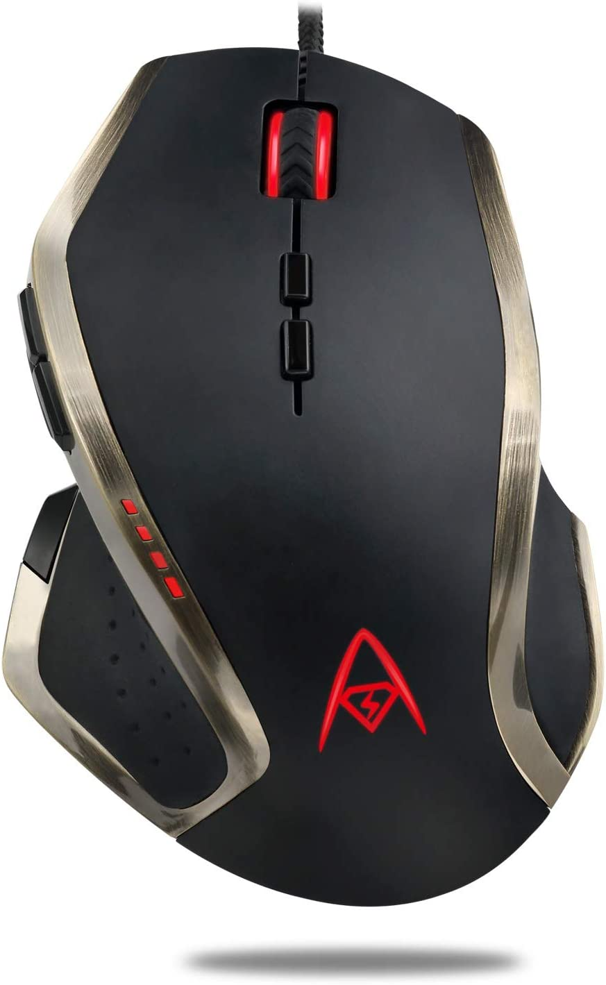 Adesso iMouse X3 Multi Color 9 Button Optical Ergonomic Gaming Mouse with 6 Foot USB Cable Wire and 7 Levels DPI Switch