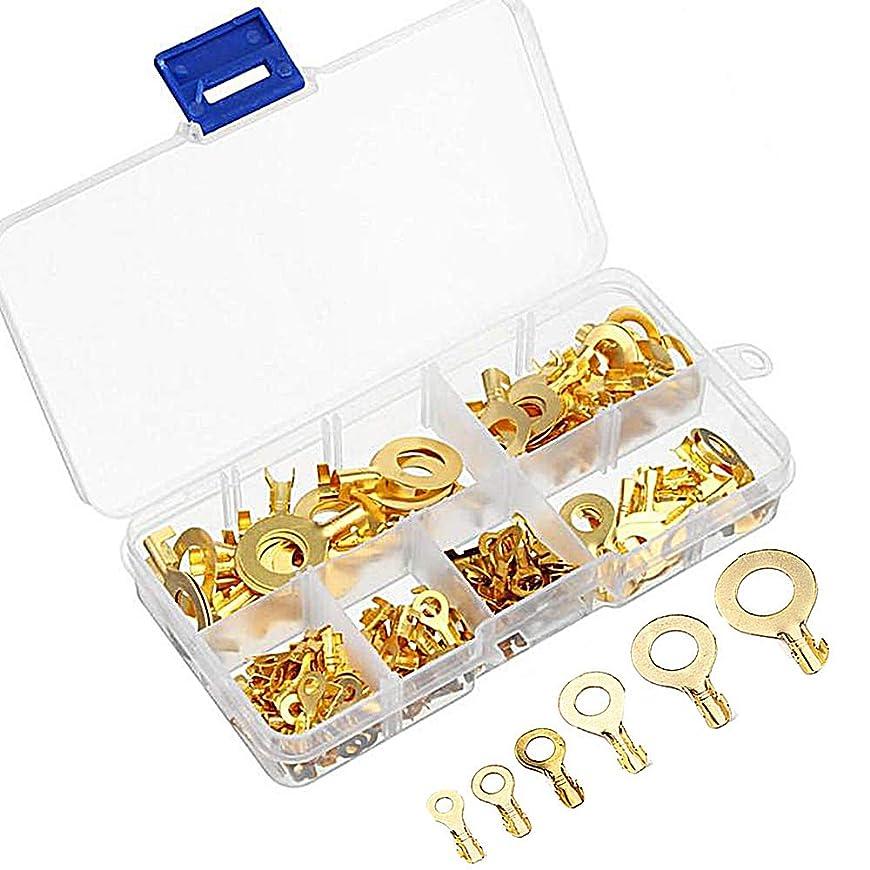 救急車コードレスストライド丸型端子セット hyrb コネクタ 150個セット 真鍮 リングケーブルラグ 丸型端子 銅ラグ 圧着ケーブル ワイヤ端子 M3 M4 M5 M6 M8 M10キット 150pcs