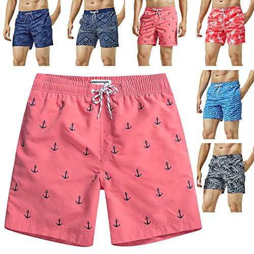 MaaMgic Mens Quick Dry Anchor Swim Trunks with Mesh Lining Swimwear Bathing Suits,Red-glm009,X-Large
