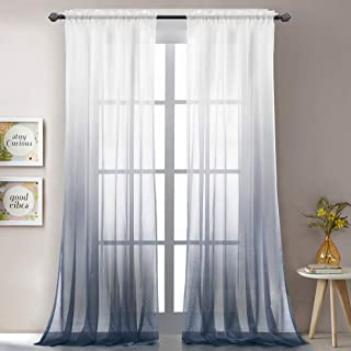 LoyoLady Rust Blue Gradient Ombre Sheer Curtains for Living Room, Voile Sheer 63 Inches Length Window Treatment Draperies, Set of 2 Panels 52