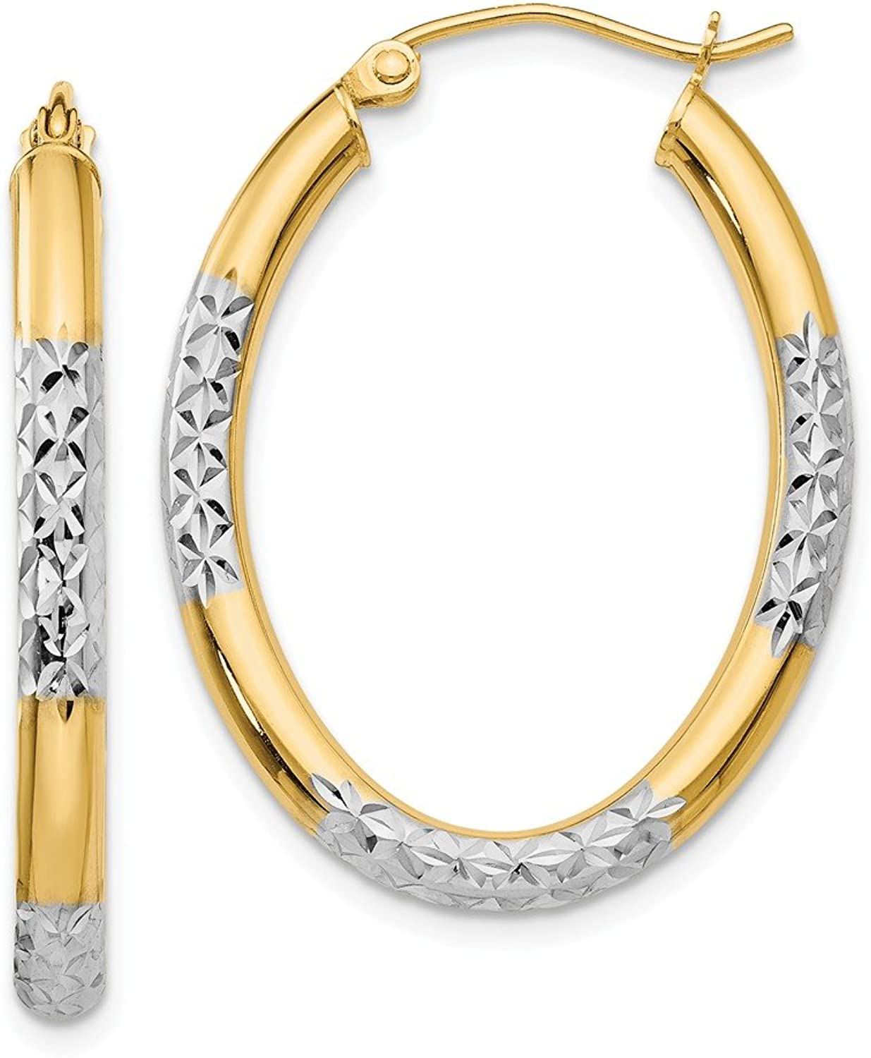 Beautiful rhodium plated gold and silver 14K 14K & Rhodium 3mm Diamond Cut Oval Hollow Hoop Earrings