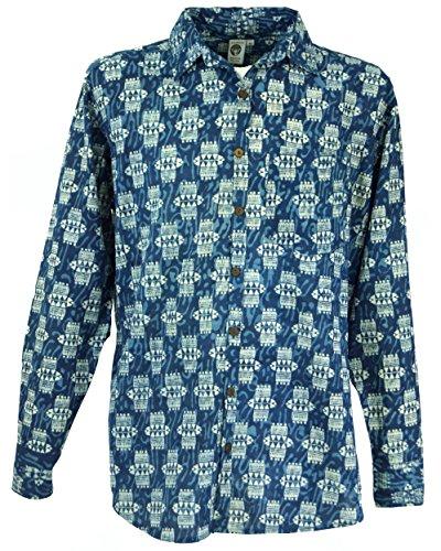 Guru-Shop Freizeithemd, Goa Hemd, Langarm Herrenhemd mit Afrikanischem Druck, Indigo, Baumwolle, Size:M, Hemden Alternative Bekleidung