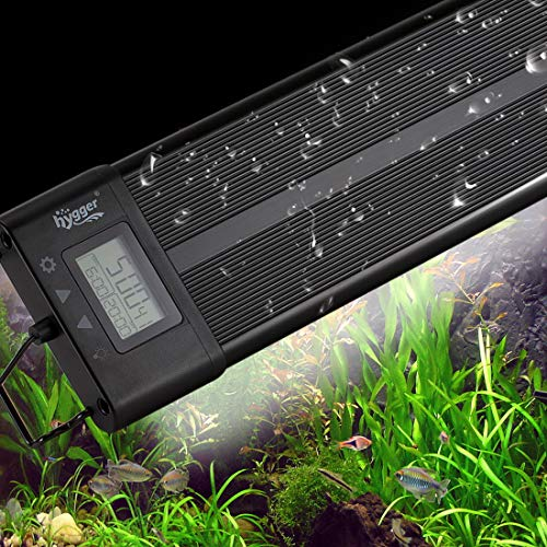 Aquarium Programmable LED Light, Full Spectrum Plant Fish Tank Light Extendable Brackets with LCD Setting Display, IP68 Waterproof, 7 Colors, 4 Modes (26W, 18~24inch)