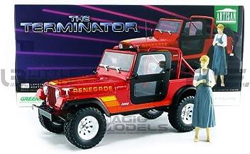 Jeep CJ-7 Renegade 1983 rot Terminator mit Sarah Connor Figur Modellauto 1:18