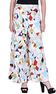 Fraulein Women's/Girls Palazzos Geometry Diamond Print Soft Crepe Flared Bottom Trendy and Stylish Palazzos with One Pocke...