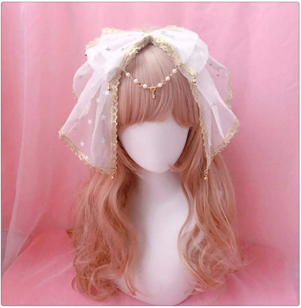 Sweet Kawaii Bow Lace Trim Bell Pendant Headband Fairy Cosplay Headwear Hair Clasp Hair Band Stars Hair Accessories (Color : Hair Clasp Only)