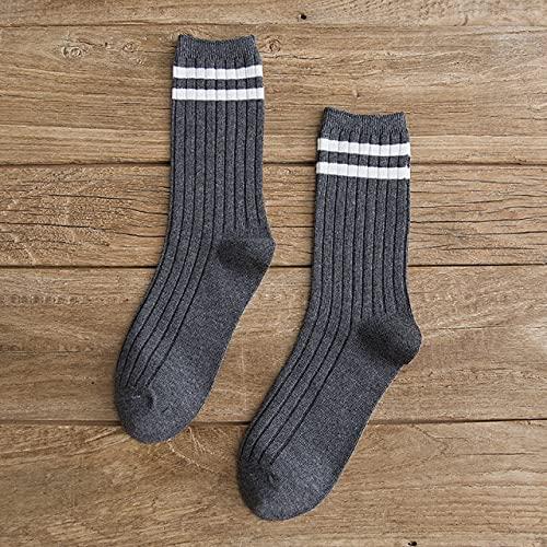 3 Pares de Calcetines Sueltos para niñas de Secundaria, Calcetines de Colores sólidos con Agujas para Tejer, Calcetines de algodón a Rayas para Mujer, Amarillo, Azul, Negro-Y01-10-One Size