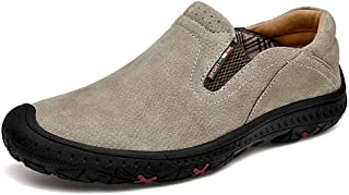 Ranipobo Casual Shoes for Men Genuine Leather Comfortable Soft Dress Loafers Anti-Slip Flat Slip-on Collision Avoidance for Men (Color : Khaki, Size : 8 UK)