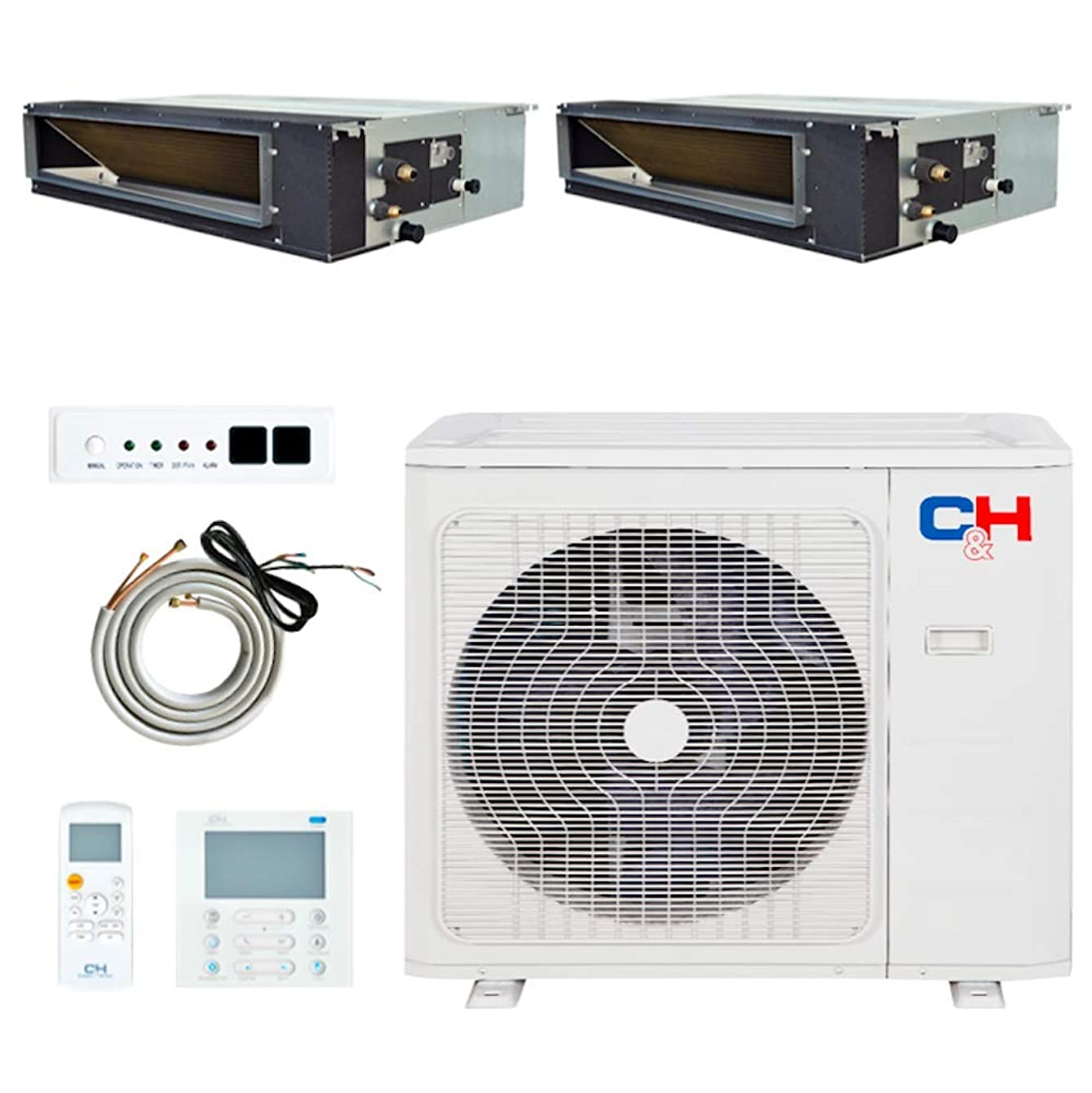 Multi Zone Dual 2 Zone 12000 24000 Concealed Duct Mini Split Air Conditioner and Heat Pump