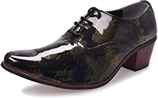 """HUAHs0 Classic Oxford for Men Outdoor Dress Shoes 5cm/1.97"""" Block Heel Lace up Pointed Toe Patent Leather Pattern Anti-slip` (Color : Yellow, Size : 41 EU)"""
