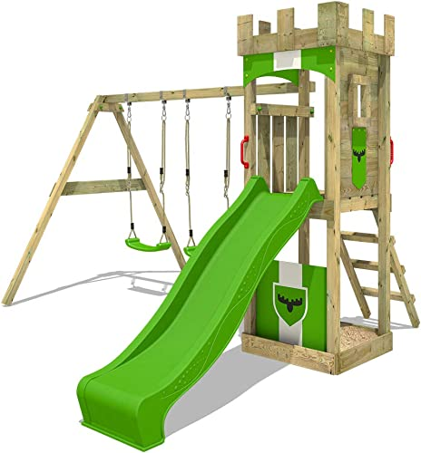 Garantía 100% de ajuste FATMOOSE Parque infantil infantil infantil TreasureTower Top XXL Parque de juegos con columpio doble y tobogán  ofrecemos varias marcas famosas