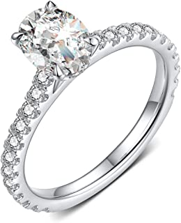 Petite Micropavé 1.5 Carat Oval Cut Cubic Zirconia CZ Solitaire Rhodium Plated Sterling Silver Engagement Rings |Ideal Cut, D-E Color, FL Clarity