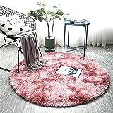 ZHOUZEKAI Alfombra Redonda, Alfombra Antideslizante para el hogar, Adecuado para la decoración de Salas de Estar y dormitorios alfombras oscuras y claras (Rosa Claro Violeta, 120cm)