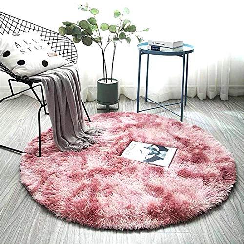 ZHOUZEKAI Alfombra Redonda, Alfombra Antideslizante para el hogar, Adecuado para la decoración de Salas de Estar y dormitorios alfombras oscuras y claras (Rosa Claro Violeta, 80 cm)