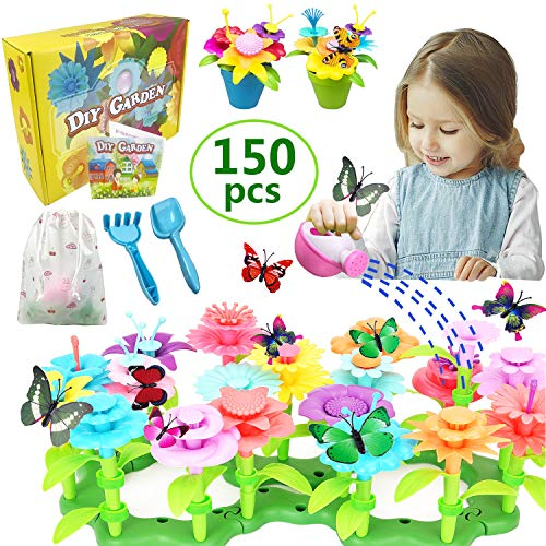 VLUINANI Flower Garden Building Set- Gifts for 3+ Year Old Girls 11 Colors Educational STEM Activity for Preschool Kids Age 3 4 5 6 Year Old Christmas Birthday Gifts (150 PCS)