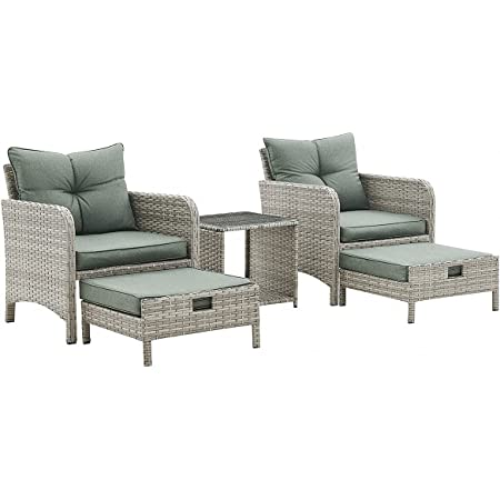 Grey Rattan Garden Furniture Set Outdoor Patio Lounge Chair Duo with Pull Out Footstools & Coffee Table