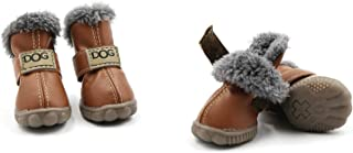 Pihappy Warm Winter Little Pet Dog Boots Skidproof Soft Snowman Anti-Slip Sole Paw Protectors Small Puppy Shoes 4PCS