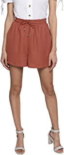 BESIVA Women's Rust Smoked Waist Shorts