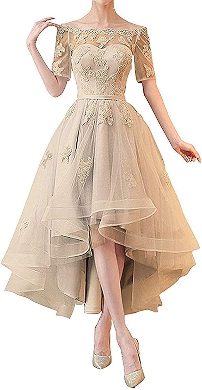 Dreagel Women's Off Shoulder Lace Prom Dresses Hi Low Half Sleeves Bridesmaid Dress