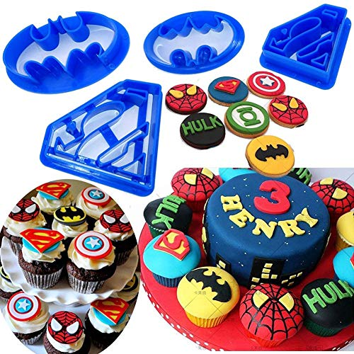 Orapink Batman Ausstechform Superhelden 4er Set - Superman Keksausstecher, Keksausstecher, Gebäckausstecher