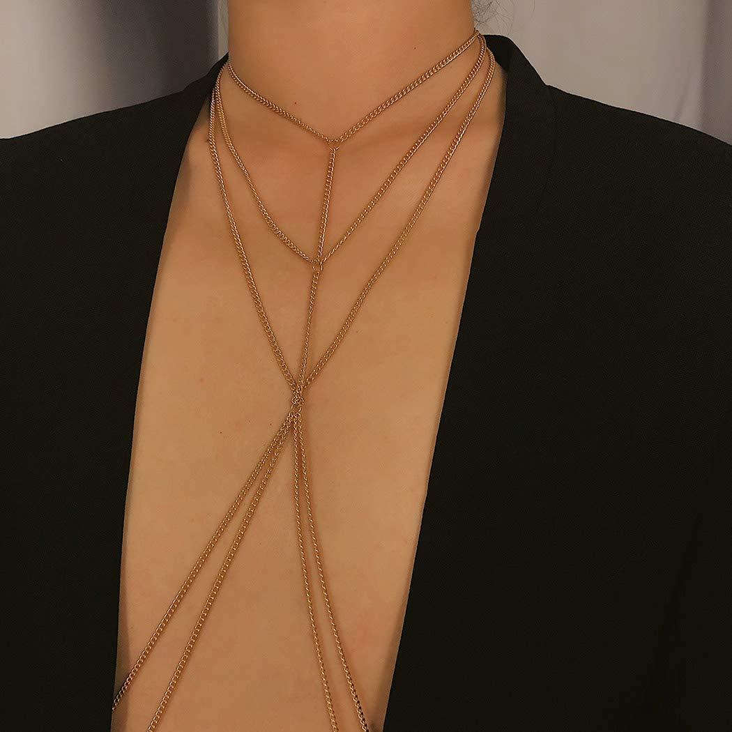 Taktik Fashion Crossover Bra Chain Gold Sexy Crop Top Bikini Dancing Body Chain NightclubBeach Body Jewelry Accessories for Women and Girls