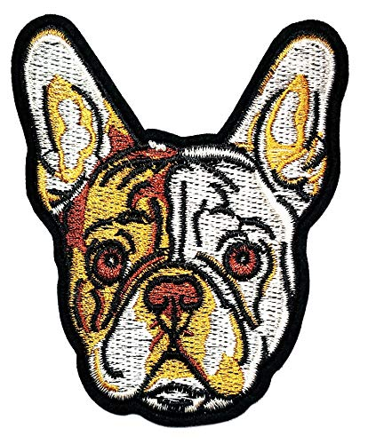 PARITA French Bulldog Pitbull Dog Pet Cartoon Sticker Patch Sew Iron on Applique Embroidered Backpack Polo T-Shirt Vest Cloth Embroidery Sewing Supplies (2)