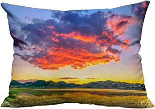 YouXianHome Throw Pillow Cover for Sofa A Huge fire Cloud Textile Crafts (Double-Sided Printing) 11x19.5 inch