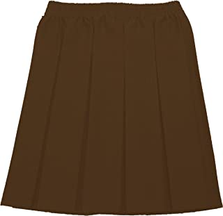 Uniform Girls Box Pleat Skirt Full Elastic Brown 11-12 Pk2
