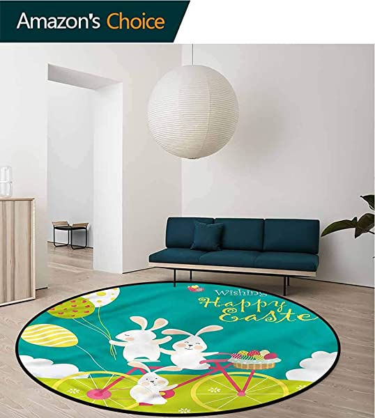 RUGSMAT Easter Small Round Rug Carpet Bunnies Bike With Balloons Learning Carpet Non Skid Nursery Kids Area Rug For Playroom Diameter 59