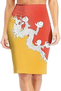 sport outdoor 003 Bhutan Flag Women's Cool Long Slim Pencil Skirt High Knee Length Office Leisure Tight Skirts