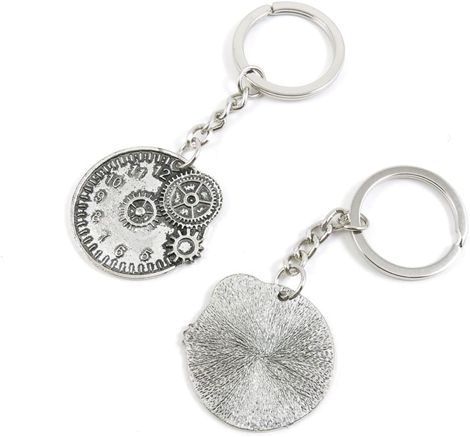 100 Pieces Keychain Keyring Door Car Key Chain Ring Tag Charms Bulk Supply Jewelry Making Clasp Findings J8HD6Y Cog Steampunk Gear Movement