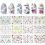 BLOUR Diseños Watermark Slider Nail Sticker Flower Rose Bird Daisy Decal Adhesive Wrap Nail Art Decoration Manicure Set 12