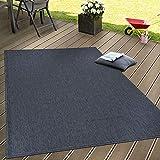 Paco Home In- & Outdoor Flachgewebe Teppich Terrassen Teppiche Natürlicher Look Navy Blau, Grösse:80x150 cm