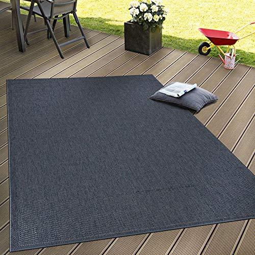 Paco Home In- & Outdoor Flachgewebe Teppich Terrassen Teppiche Natürlicher Look Navy Blau, Grösse:80x200 cm