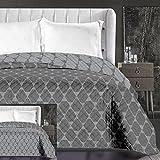 DecoKing 86759 Tagesdecke 220 x 240 cm Graphit grau Stahl anthrazit Bettüberwurf zweiseitig leicht zu pflegen geometrisches Muster Grey dimgray Steel Hypnosis Collection Rhombuses