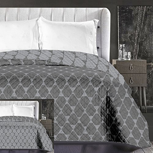 DecoKing 86766 Tagesdecke 170 x 210 cm Graphit grau Stahl anthrazit Bettüberwurf zweiseitig pflegeleicht geometrisches Muster Grey dimgray Steel Hypnosis Collection Rhombuses