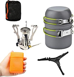 Lixada Camping Cookware Set with 3000W Camping Stove Cooking Pots Pans Tank Bracket For Outdoor Picnic Camping Hiking Back...
