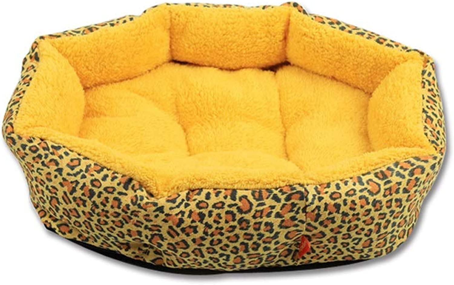 Pet Bed Soft Washable Basket Dog Bed Cushion with PP Cotton Lining for Dogs Cats (color   Yellow, Size   M)