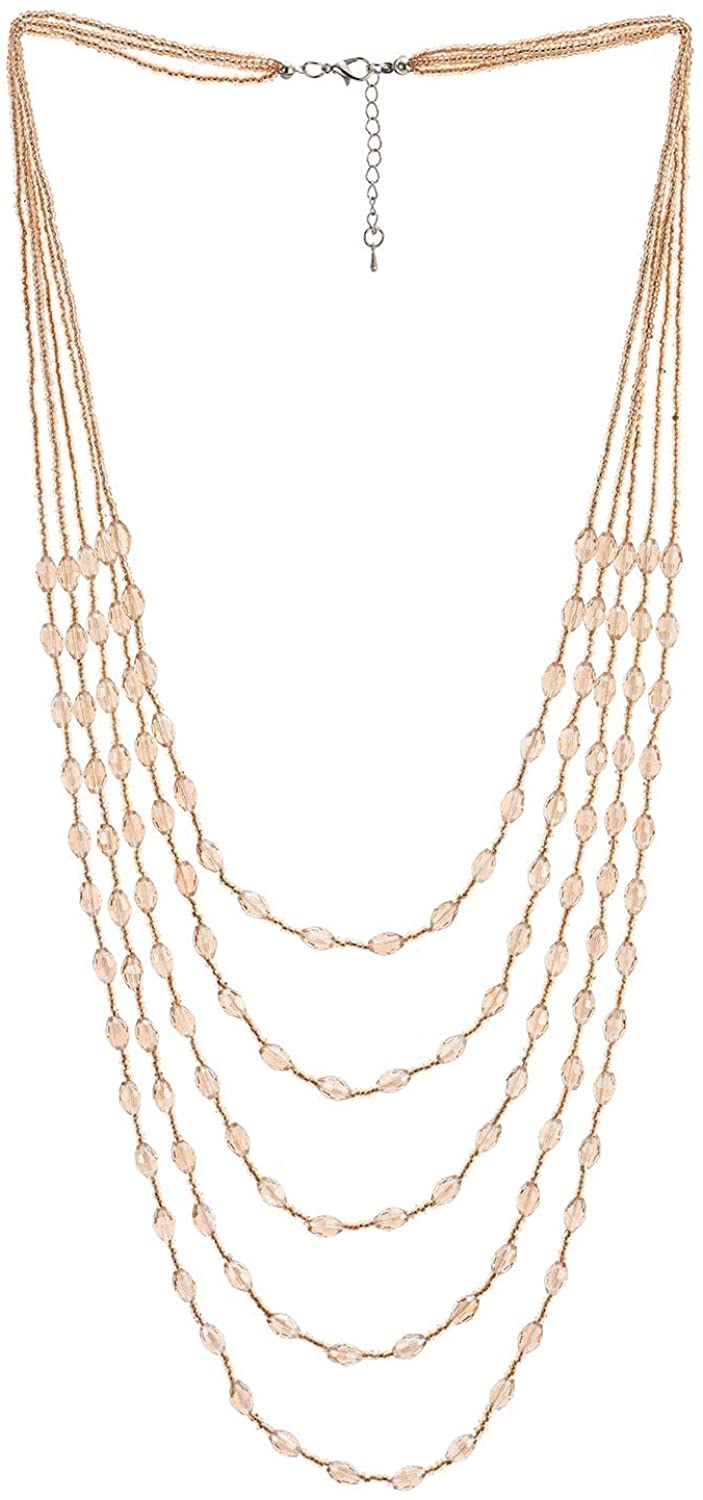 COOLSTEELANDBEYOND Champagne Gold Oval Beads Statement Necklace Multi-Strand Long Chains with Crystal Charms Pendant